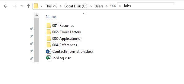 Screenshot of Jobs folder