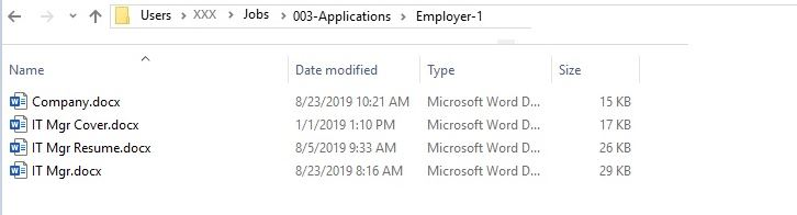 Screenshot of Employer-1 folder